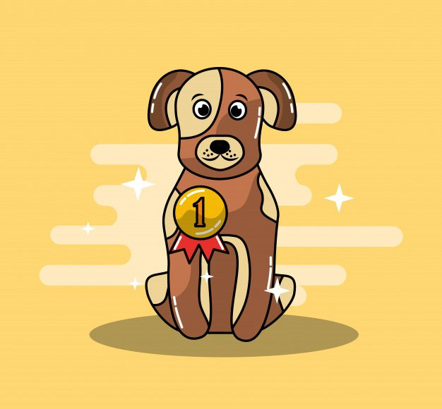 cartoon-dog-champion-winning-gold-medal_24908-12953
